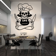 Large Skeleton Chef Wall Sticker Kitchen Restaurant Cartoon Skull Cooker Decal Dinning Room Vinyl Home Decor LW225