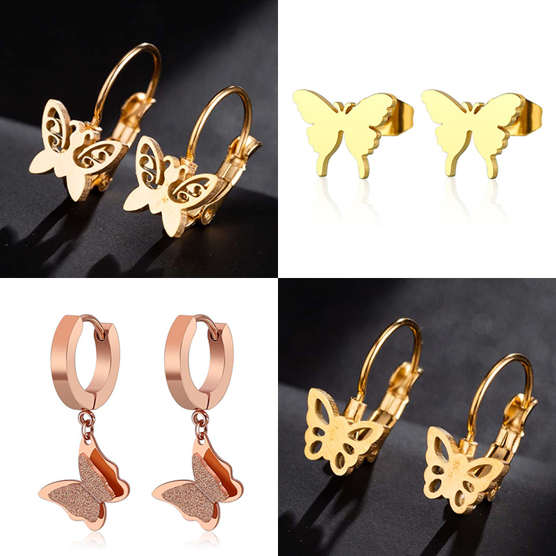 Jisensp Gold Small Butterfly Stud Earrings Elegant Animal Stainless Steel Earrings For Women Earing Christmas Jewelry Accessorie