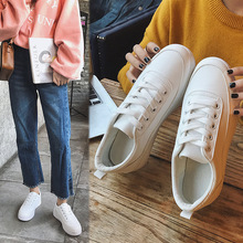 2019 Autumn New Girl Shoes Girls Casual Low Solid Color Joker All-match Small White Shoes Warm Schoolgirl Lace-up PU Shoes недорого
