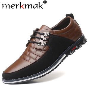 Merkmak Autumn Genuine Leather Men Casual Shoes Breathable lace-up Oxfords Dress Business Formal Wedding Party Big Size Shoes(China)