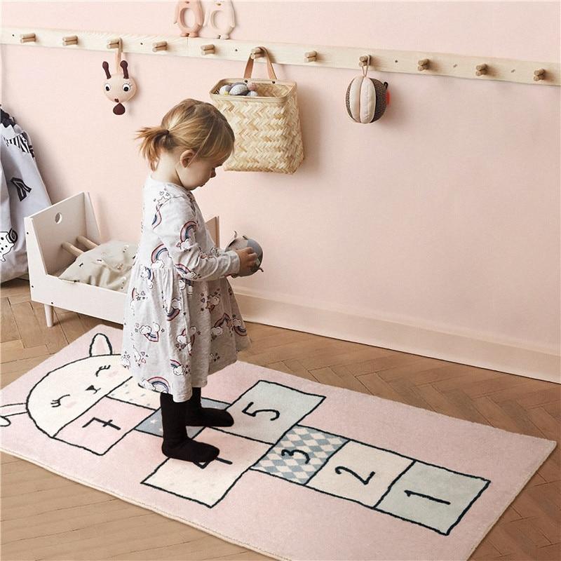 tapis de sol de jeu pour enfants tapis de chambre a coucher rose pour filles lavable en machine