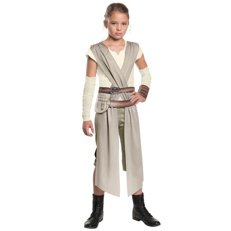 The Force Awakens Star Wars Rey Costume Cosplay Halloween Superhero Costume For Girls