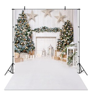 Indoor Christmas Photography Backdrops for Children Portrait Photoshoot White Fireplace Wood Floor Backdrop for Photo Studio