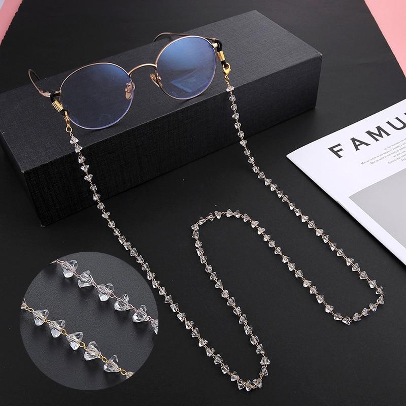 Teamer cristal frisado óculos corrente para mulher moda cordão ouro cor metal sunglasses correntes cinta cabo pendurado pescoço titular