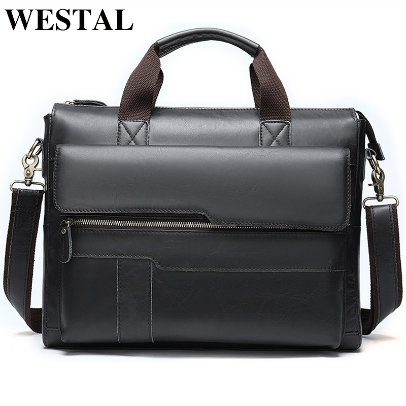 WESTAL Men's Briefcase Bag Men's Genuine Leather Laptop/office Bag For Men Vintage Bussiness Document Briefcase Handbag Tote 502