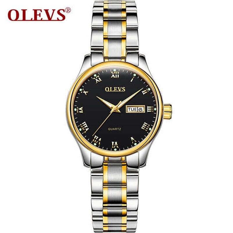 OLEVS Couple Watch Couple Gift Stainless Steel/Leather Ladies Watch Date Luminous Quartz Men Watches Waterproof Wristwatch
