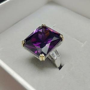 Image 5 - PANSYSEN Charms 14x16mm ametystowe pierścienie z kamieniami szlachetnymi dla kobiet mężczyzn oryginalna 925 Sterling Silver pierścionek zaręczynowy Fine Jewelry