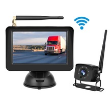 Car Monitor 5 Inch TFT Monitor DC12V 36V 500 Brightness, Wireless Reversing Camera Kit 170 Degree Waterproof Rear View Camera
