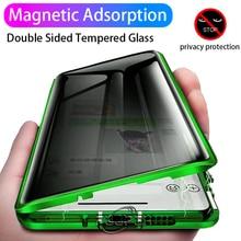 Coque de protection magnétique Double face en verre pour Samsung Galaxy, pour modèles S21 Ultra, S20 FE, S10E, S8, S9 Plus, Note 20, 10, 9, 8, 360