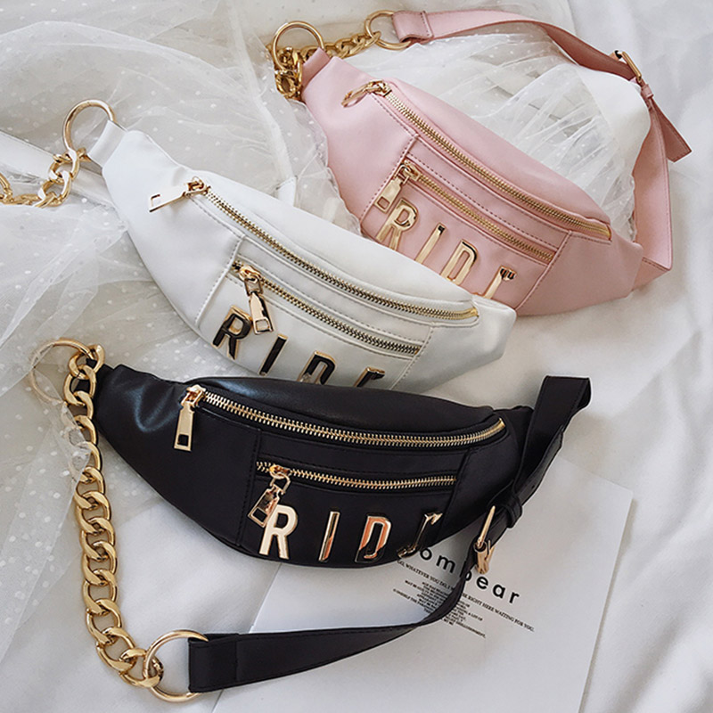 Waist Bag Belt Bags Women's PU Fanny Pack Hip Package Fashion Letters Waist Packs Banana Bag Phone Pocket Female Crossbody Bag