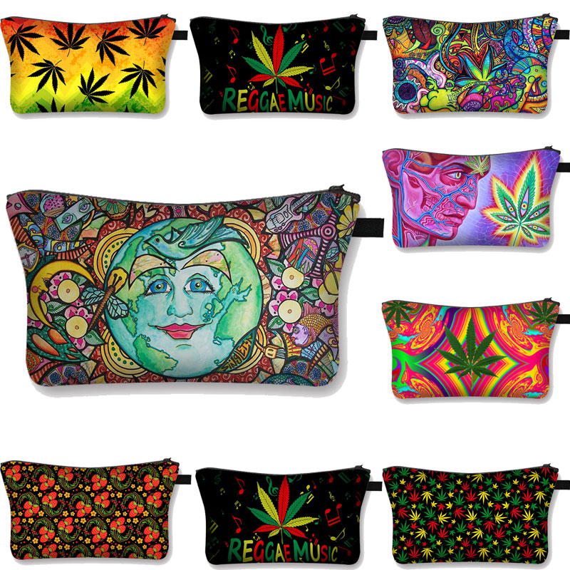 Smoke Weeds  Cosmetic Cases Fashion  Ladies Maple leaf pattern Makeup Bag Teenager Girls Women Portable for Make Up best gift
