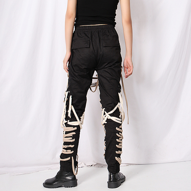 TWOTWINSTYLE Cross Bandage  Pants For Women High Waist Full Length Plus Size Casual Black Trousers Female 2020 Autumn New Style 4