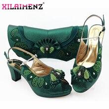 Dernières chaussures et sac assortis de couleur vert foncé pour la fête italienne Style nigérian dames matures avec des chaussures en cristal et un ensemble de sacs