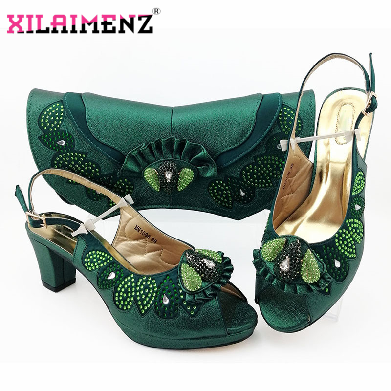 Latest Dark Green Color Matching Shoes and Bag Set for Italian 