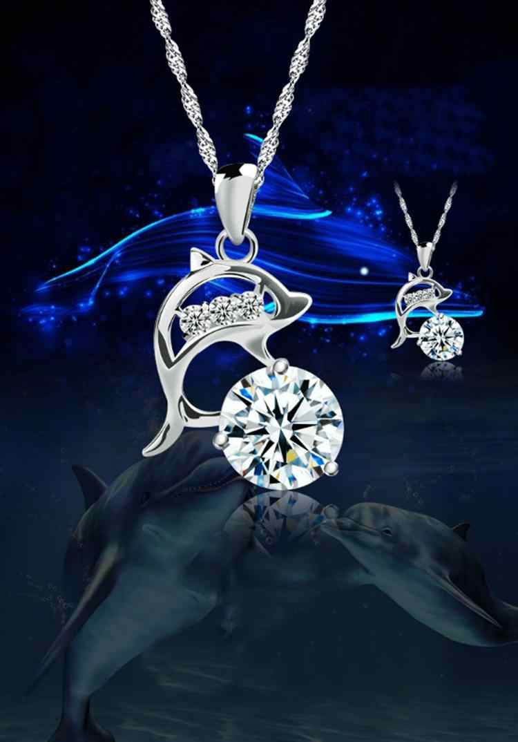 Hot Sale Jumping Dolphins Rhinestone Creative Pendant Silver Plated Necklace Love Souvenir Without Chain Fine Jewelry NL-0551