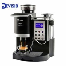 DEVISIB профессиональная все-в-одном эспрессо кофе машина американо с измельчителем зерен и вспениватель молока стать бариста легко