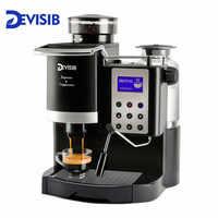 Machine à café expresso tout-en-un professionnelle DEVISIB Americano avec broyeur à grains et mousseur à lait devenir facilement Barista