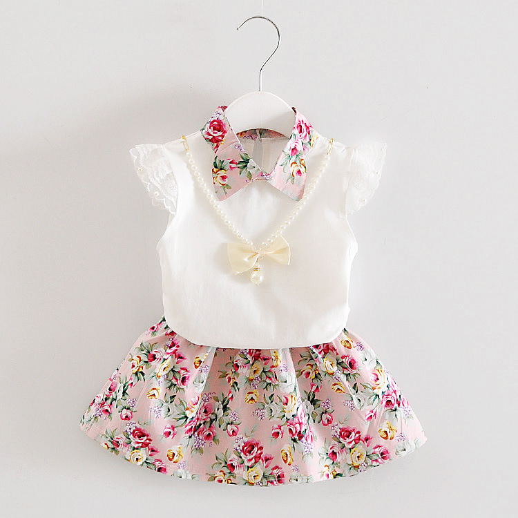 1set Girls Summer Outfits 6m 12m 2T 3T Toddler Kids Baby Girls Outfits Cotton Tee+dress Outfits Clothes Girls Floral Dress