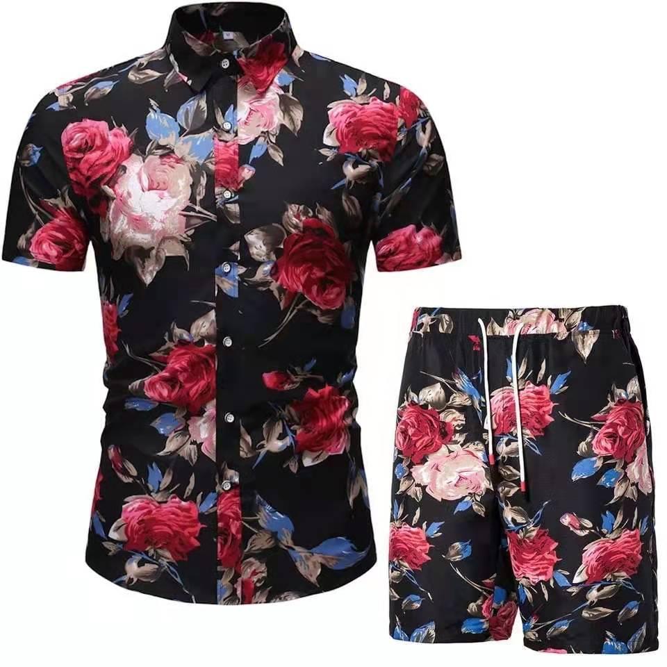 2021 New Short-Sleeved Shirt Men's Summer Slim Floral Lapel Cardigan Casual Shirt Two Sets