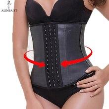 9 aço osso látex cintura trainer shapewear emagrecimento cinto cintura cincher corpo shaper cinto treino barriga controle espartilho para mulher