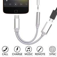 4 colores USB-C tipo C a de Audio de 3,5mm Aux Cable con clavija para auriculares adaptador de carga y reproductor de música del divisor del teléfono inteligente Accesorios