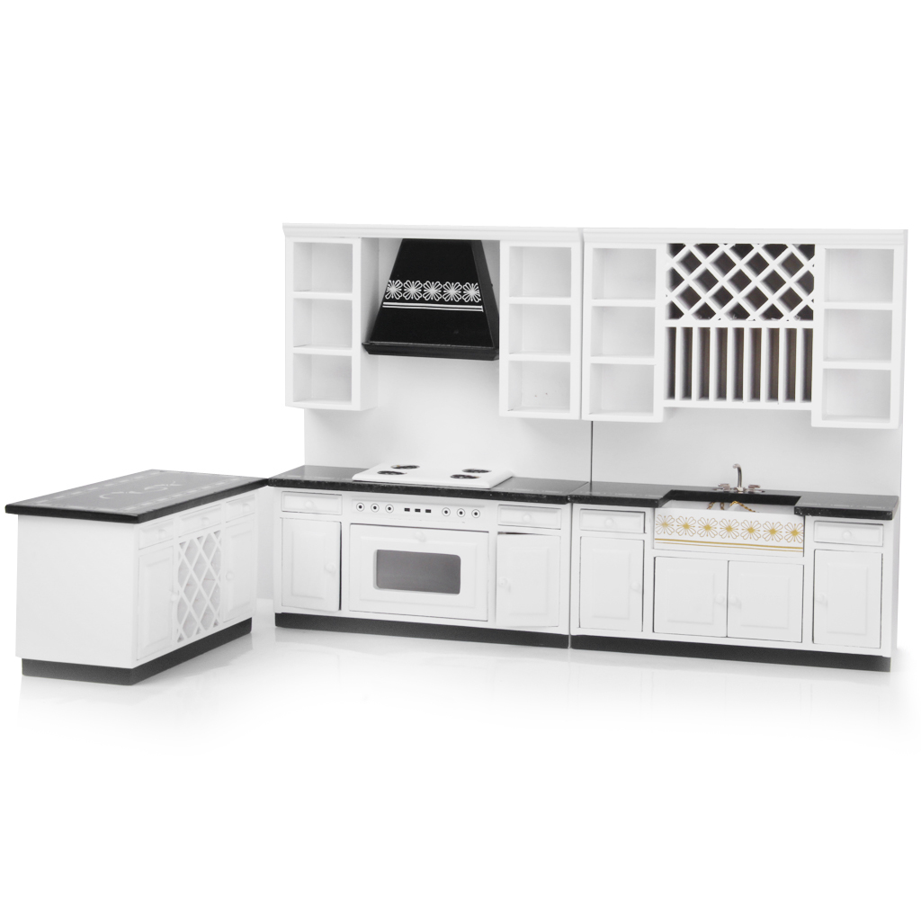 10pcs Dollhouse Miniature Kitchen Furniture Set Wood Stove Sink Island  Cabinet