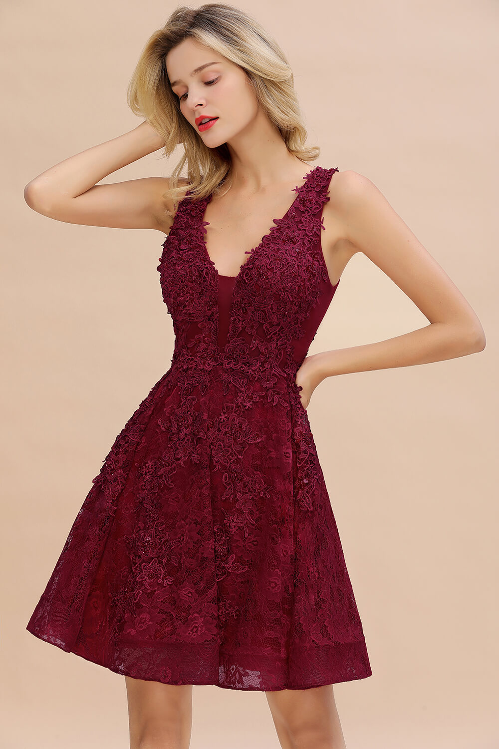 Closeout DealsCocktail-Dresses Vestidos Coctel Lace Modern A-Line V-Neck Embroidery with Sexy Short