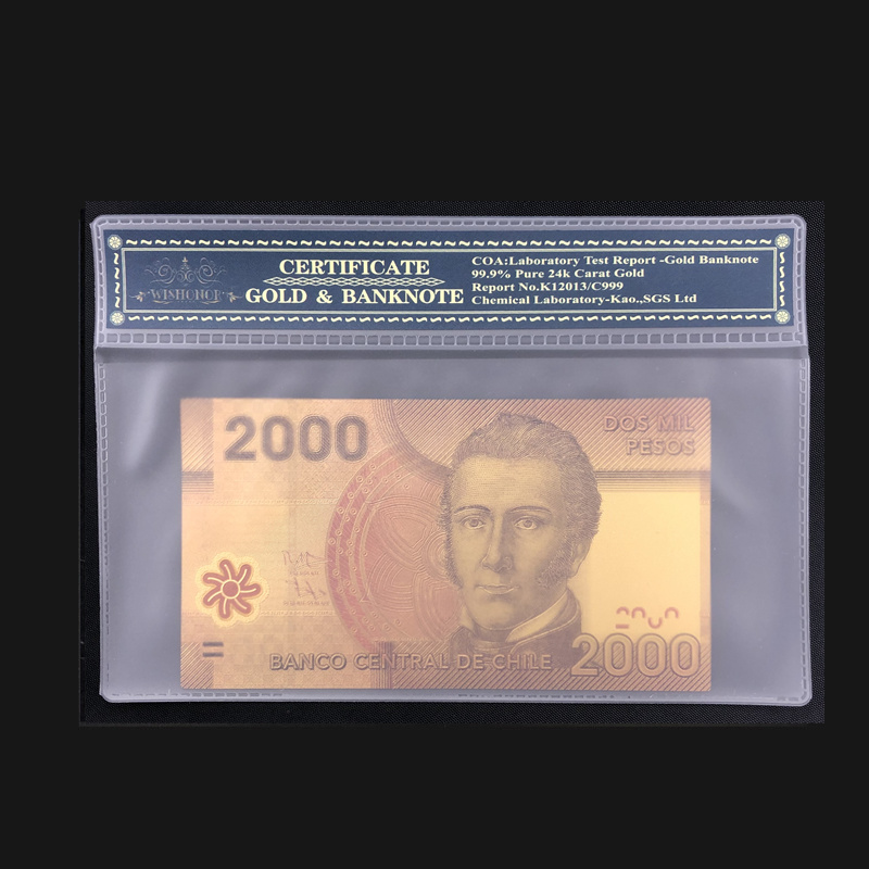 Business Souvenir Gifts 10pcs Chile 20000 Poes Colorful 24k Gold Plated Bills