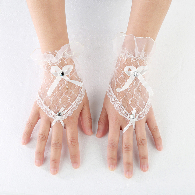 Trendy White Black Red Color Bride Party Gloves Fingerless Sexy Lace Short Bow Gloves for Women party 5