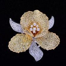 Luksusowe AAA cyrkon Rhinestone kwiat broszka Christmas Pin w stylu Vintage kryształ orchidea szpilki i broszki dla kobiet akcesoria biżuteria