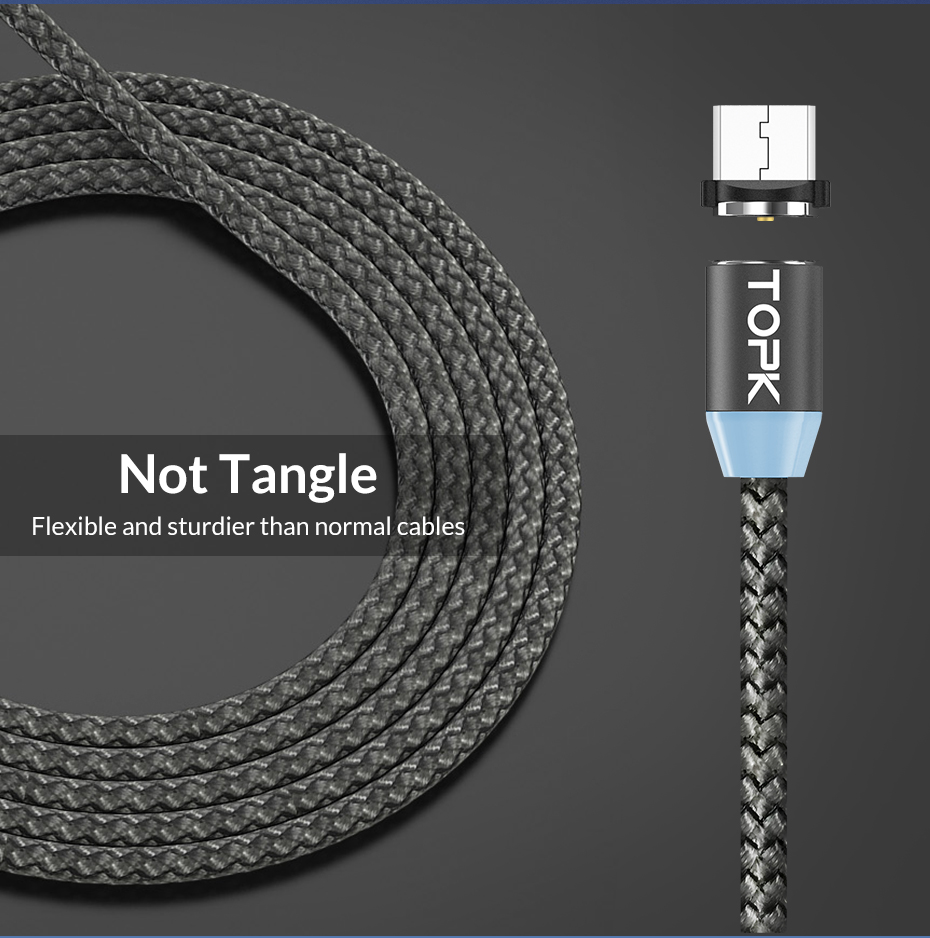 TOPK AM17 1M LED Magnetic USB Cable for iPhone Xs Max 8 7 6 & USB Type C Cable & Micro USB Cable for Samsung Xiaomi LG USB C 8