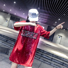 Chic Woman Cartoon Mickey sequins loose Oversized Long T-shirt Hiphop Numbers Short sleeved splicing Sequined Tops Streetwear(China)