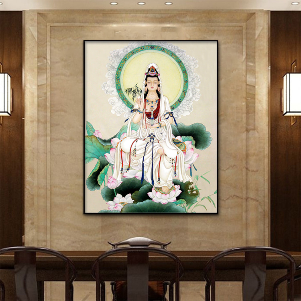 Gongbi Guanyin Buddha Statue Canvas Poster  Wall Art Print Modern  Painting Nordic Kid Bedroom Decoration Picture (4)