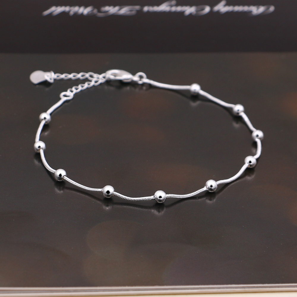 Classic women's silver anklet minimalist round beads ankle silver bracelet summer beach jewelry sandals accessories Pulseira