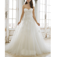 Romantic White Tulle Perfect Appliques Ball Gown Wedding Dresses Sweetheart Neckline Appqliues Court Train Beading Bridal Gown