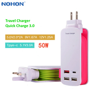 Nohon Quick Charge QC 3.0 USB Wall Charger 4 Ports USB Type C Hub Travel Charger Power Adapter 1M Strip for Cell Phone Tablet