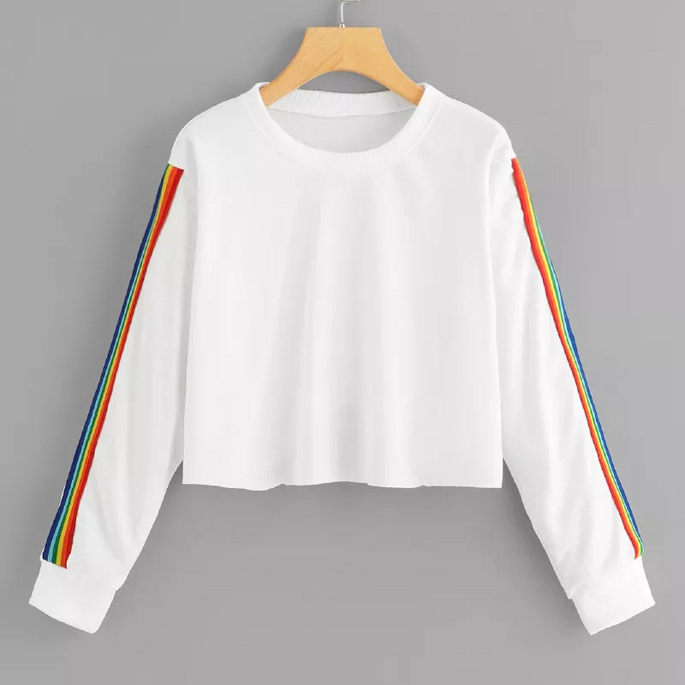 2020 Fashion Sweatshirt Women Crop Top Rainbow Black Autumn Pullover Long Sleeve Casual O Neck Sweat Femme Sudadera Mujer