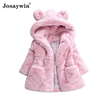 купить Winter Children Jacket Coat Baby Kids Hooded Warm Hooded Autumn Parka Wool Fleece Snow Fluffy Faux Fur Coat for Girls Outerwear в интернет-магазине