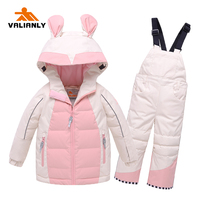 VALIANLY 2020 Winter Kids Snowsuit Warm Ski Sets Hooded Girls Ski Suit Ski Jacket Pants Waterproof Winter Children Clothing Sets
