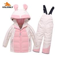 VALIANLY 2020 Winter Kids Snowsuit Warm Ski Sets Hooded Girls Ski Suit Ski Jacket Pants Waterproof Winter Children Clothing Sets