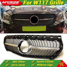 Cla W117 Diamonds Grille grill ABS silver For MercedesMB CLA180 200 250 cla45 look Front Bumper Kidney Grills without sign 14-18
