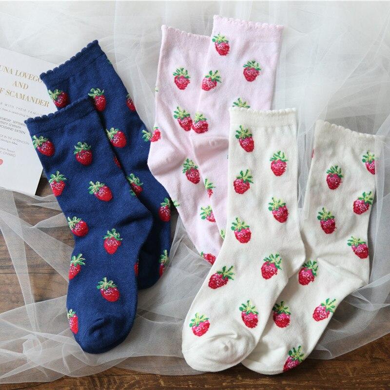 Women Socks White Middle Tube Socks With Cherry Pink Blue Color Cute Girls Fashion Socks 2020 New Style Fruits Socks