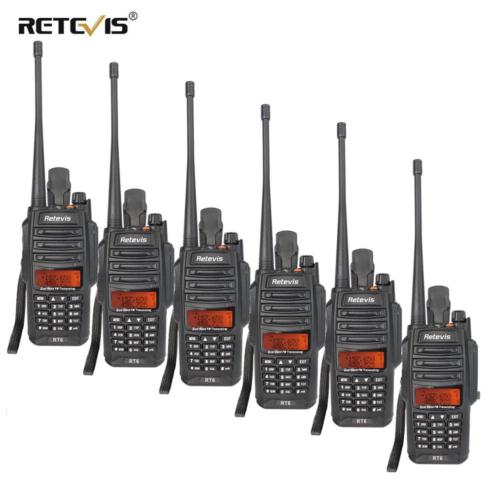 Retevis RT6 Waterproof Walkie Talkie 6pcs IP67 5W Dual Band VHF UHF Radio VOX LCD Display Portable Walkie Talkie Walkie-Talkie