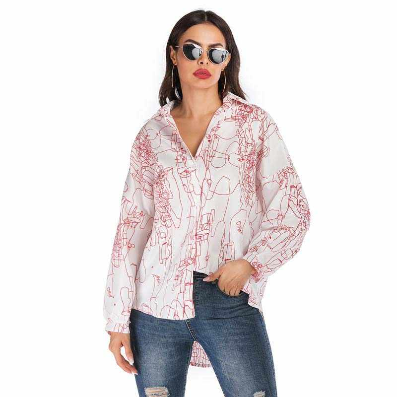 Autumn Turn-down Collar Shirt Women Loose Long Sleeve Casual Printed Button Blouse Spring Long Length Tops Blouse Ladies