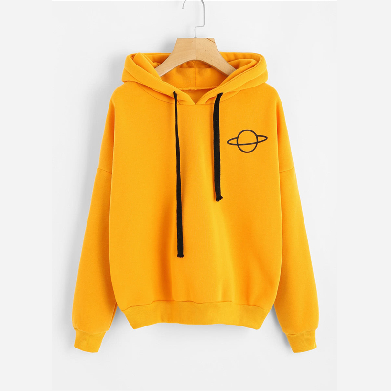 Women Hoodies Casual Planet Print Solid Loose Drawstring Sweatshirt Fashion Long Sleeve Hooded Female Tops Women's Sweatshirt