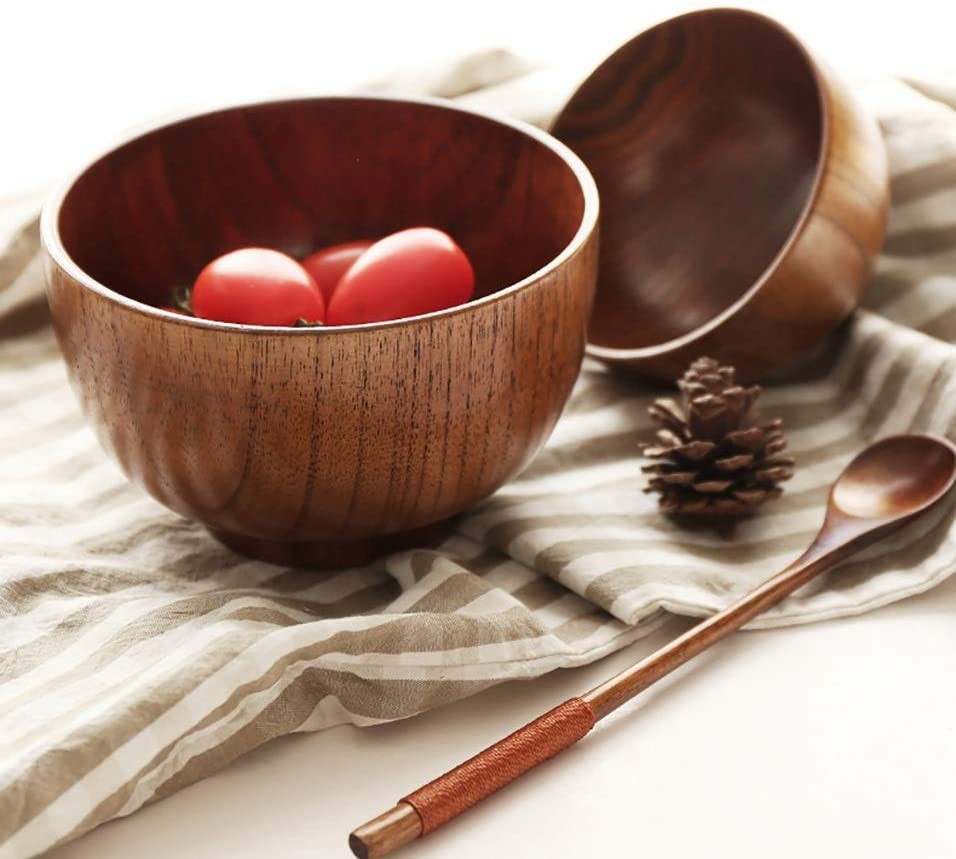 Wooden Soup Bowl Rice Bowl Kids Cereal Bowls Decorative Chinese Wood Tableware Japanese Miso Noodle Sauce Small Serving Bowl