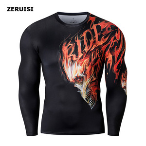 Image 2 - New Arrival 3D Printed T shirts Men Compression Shirt Costume Long Sleeve Tops For Male Fitness Hip hop Clothing