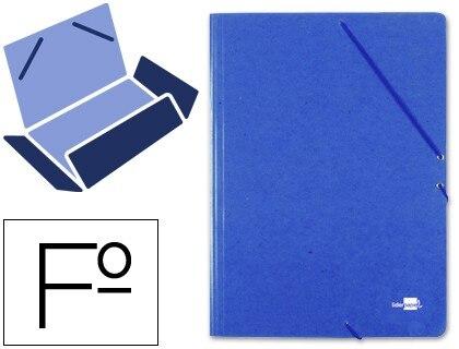 FOLDER LIDERPAPEL RUBBER FOLIO 3 LAPELS CARTON PRESPAN BLUE