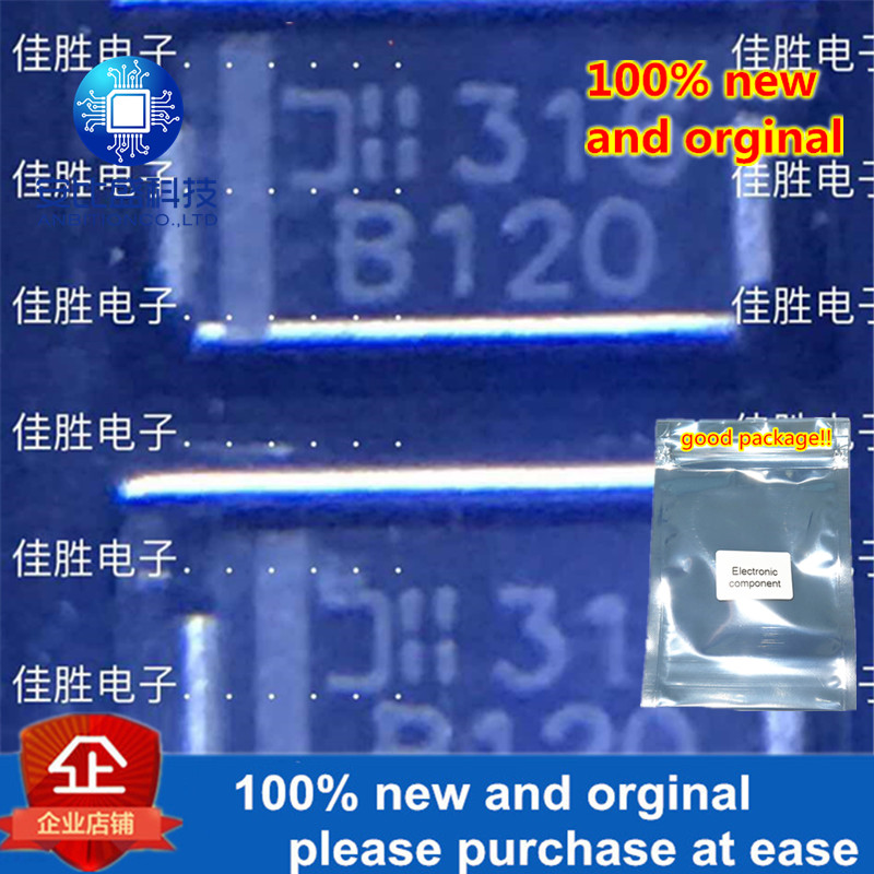 100pcs 100% New And Orginal  B120 1A20V Low Pressure Drop Schottky DO214AC In Stock
