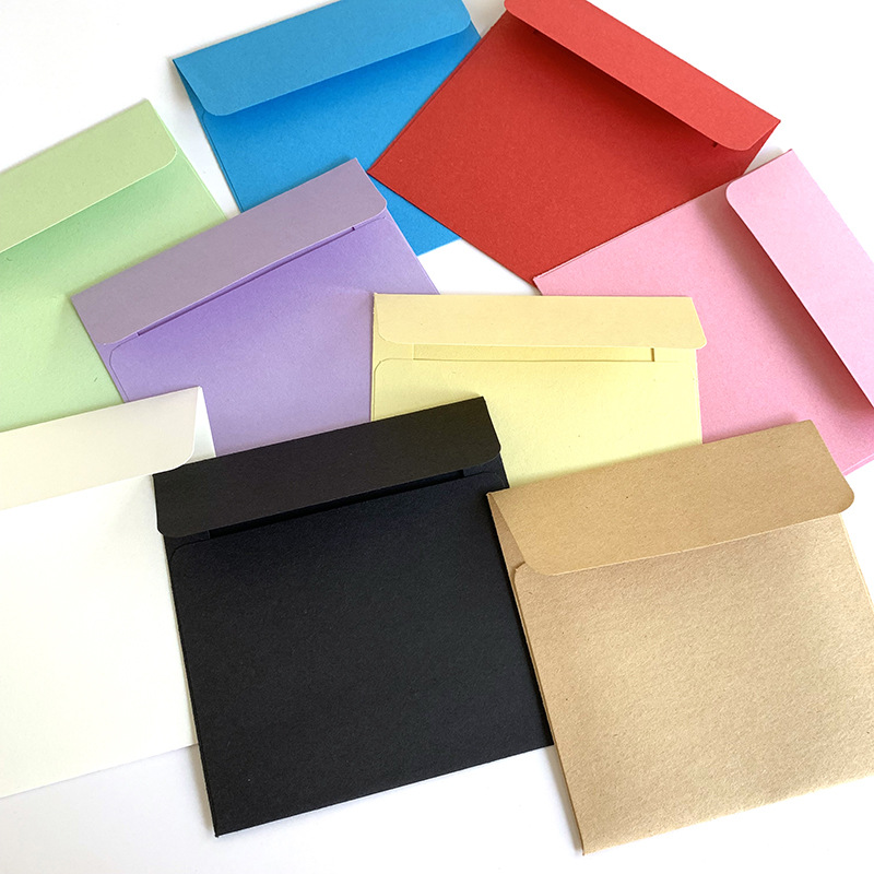 (10 Pieces/lot) 10*10cm Color Small Envelopes Solid Color Bank Card Membership Card Gift Candy-colored Paper Square Envelope